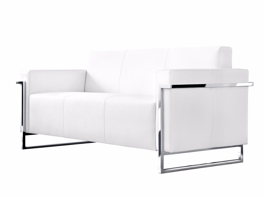 Sled base upholstered 3 seater sofa MEMORIA | 3 seater sofa by Luxy