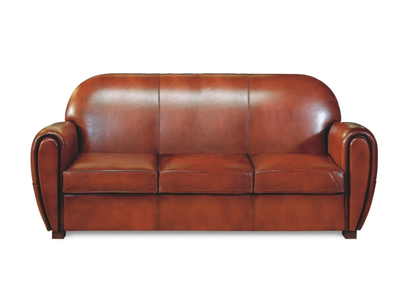 3 seater tanned leather sofa CARLTON | 3 seater sofa by Neology