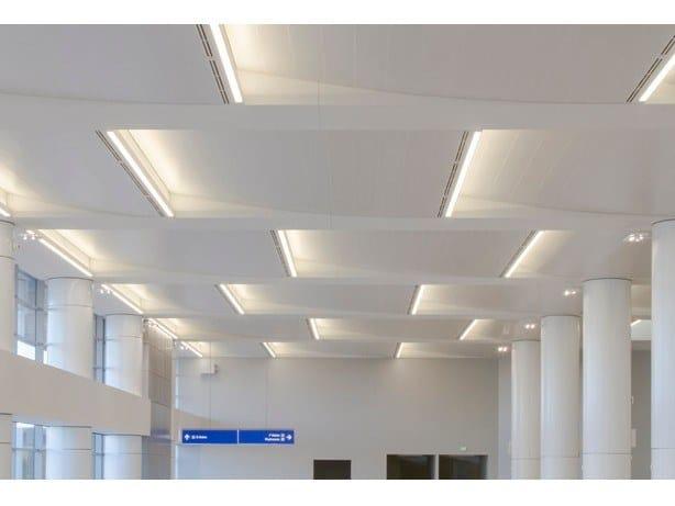 Acoustic metal ceiling tiles METAL WIDE PANELS by HunterDouglas Architectural