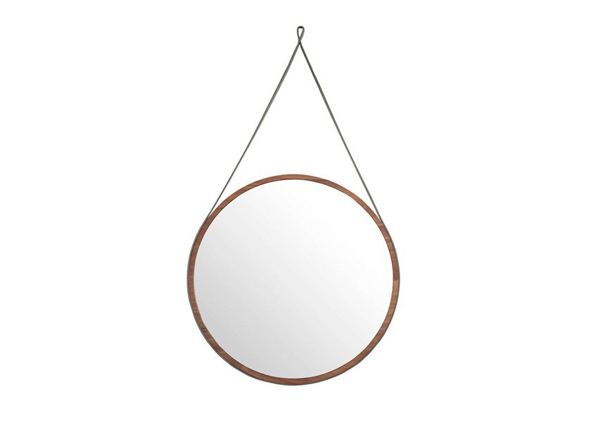Round framed wall-mounted walnut mirror 3038 by Angel Cerdá