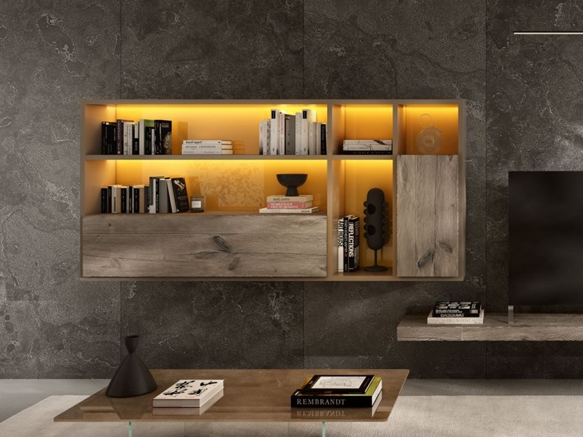 floating wooden bookcase with secretary desk 30mm bookcase with secretary desk