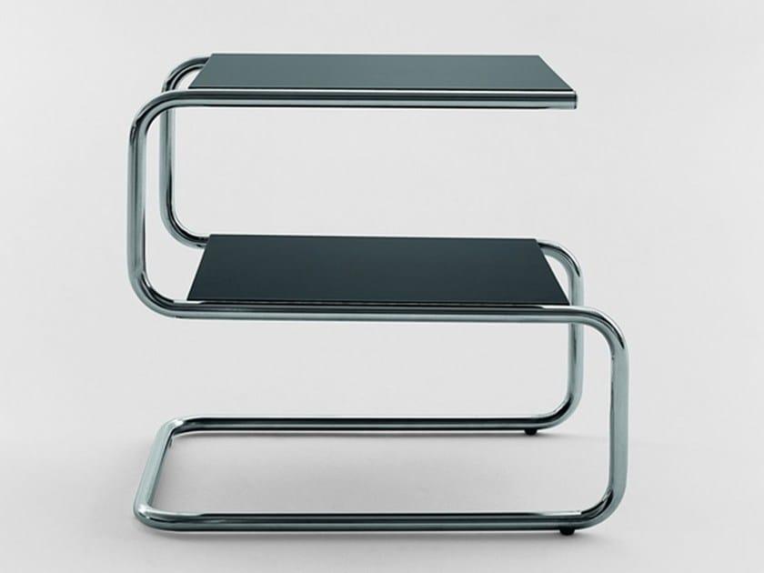 Tavolino quadrato in acciaio inox e legno con portariviste per contract 310 | Tavolino by Adico