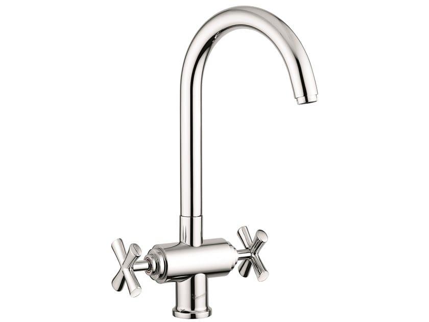 Countertop brass bridge tap with swivel spout 31007 | Countertop kitchen tap by EMMEVI RUBINETTERIE