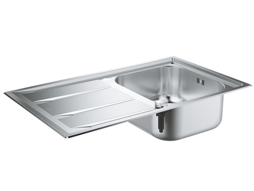 Single Semi flush top stainless steel sink with drainer K400+ - 31568SD0 | Single sink by Grohe