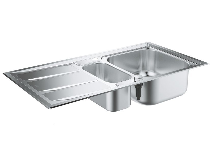 1 1/2 bowl Semi flush top stainless steel sink with drainer K400+ - 31569SD0   1 1/2 bowl sink by Grohe