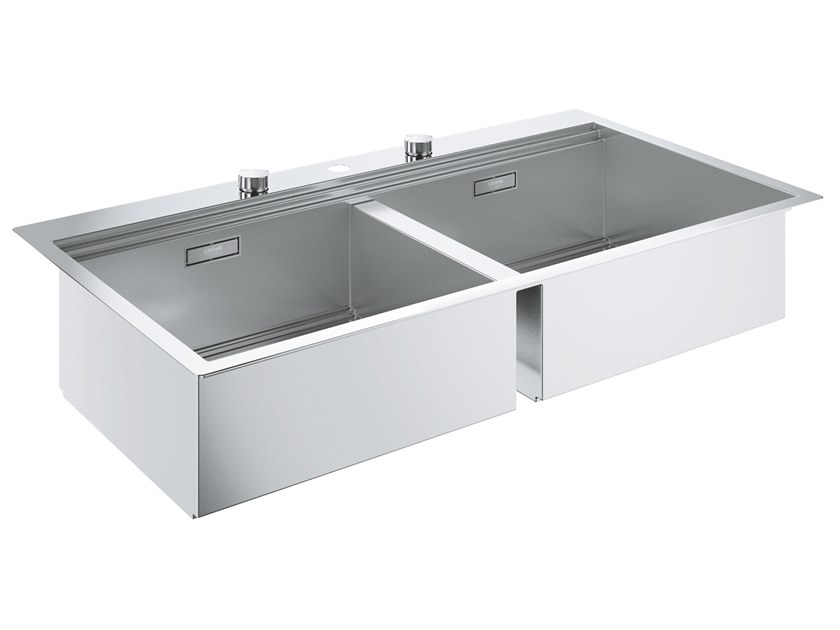 2 bowl flush-mounted stainless steel sink K800 - 31585SD0 | 2 bowl sink by Grohe