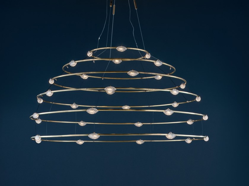 LED brass pendant lamp 32 PETITS BIJOUX by Catellani & Smith