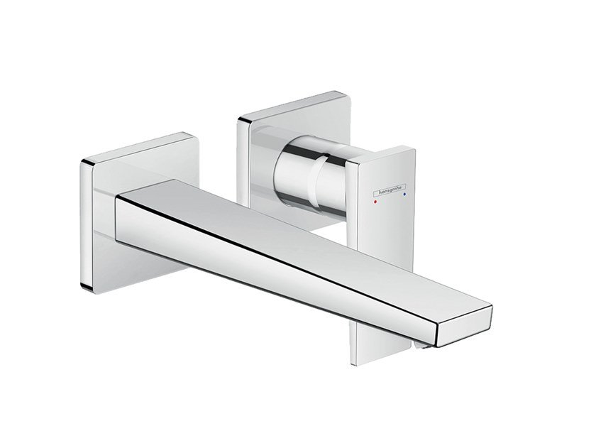 Wall-mounted single handle washbasin mixer METROPOL | Wall-mounted washbasin mixer by hansgrohe