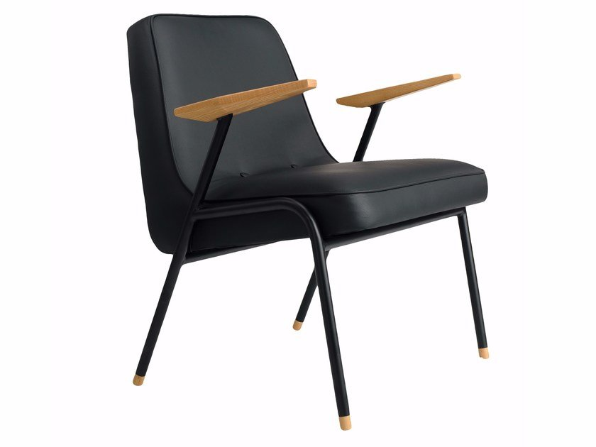 Imitation Leather Easy Chair With Armrests 366 METAL By 366 Concept S.c.