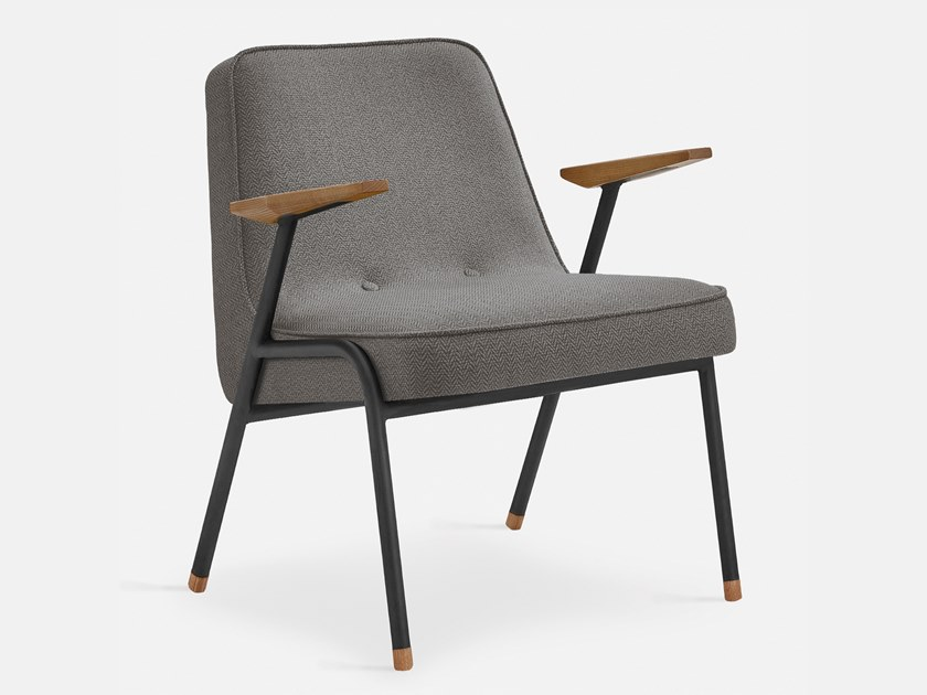 Armchair in fabric and metal with armrests 366 METAL TWEED | Easy chair by 366 Concept s.c.