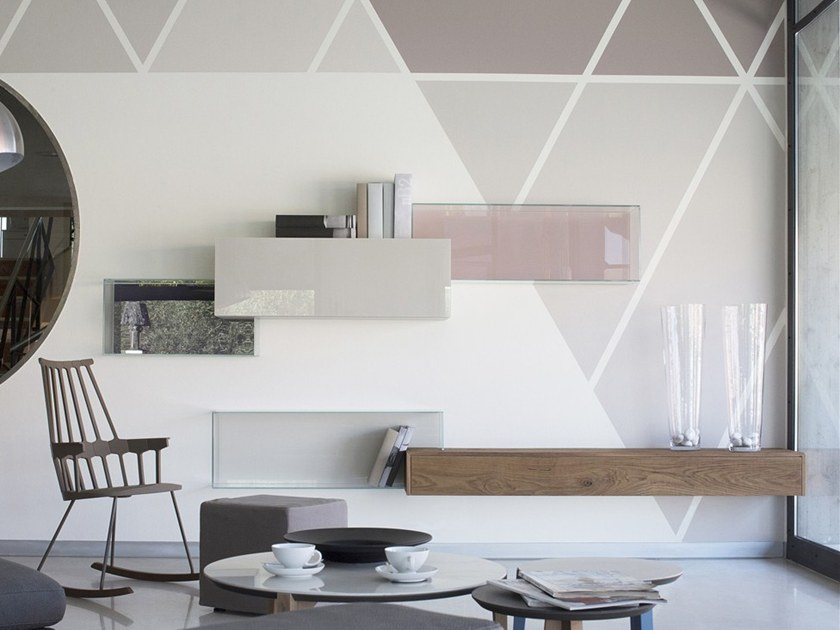 Modular wood and glass storage wall 36E8 GLASS | Storage wall by Lago