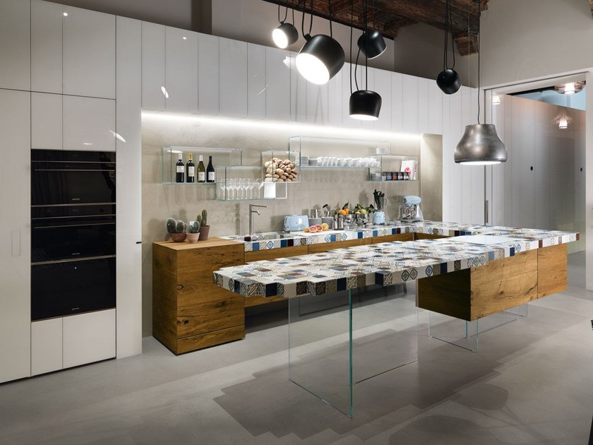 Kitchen with peninsula 36E8 MADETERRANEO   Kitchen with peninsula by Lago
