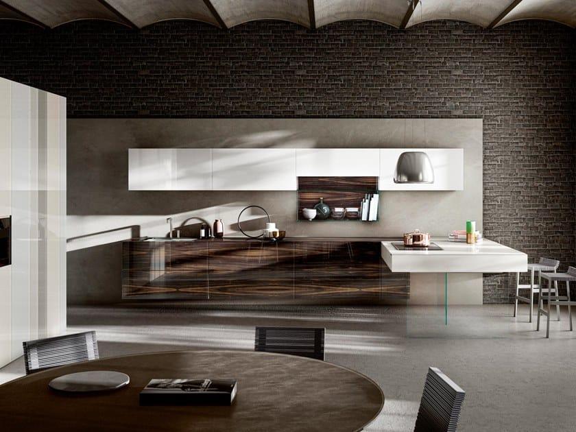 Kitchen with peninsula 36E8 WOOD XGLASS by Lago
