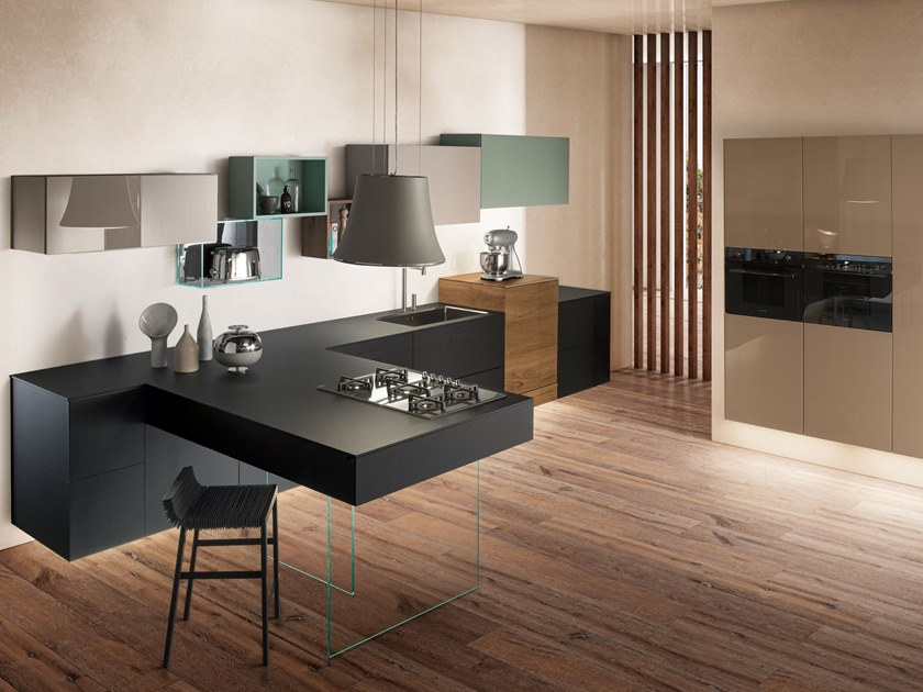 Fenix-NTM® kitchen with peninsula 36E8 FENIX | Kitchen with peninsula by Lago