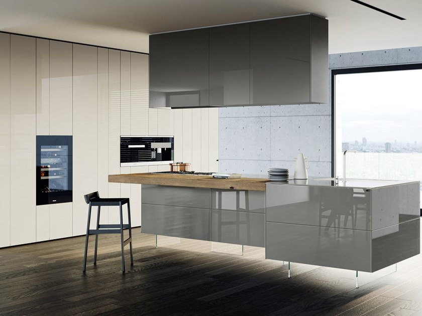 36E8 GLASS | Kitchen with island 36e8 Collection By Lago ...