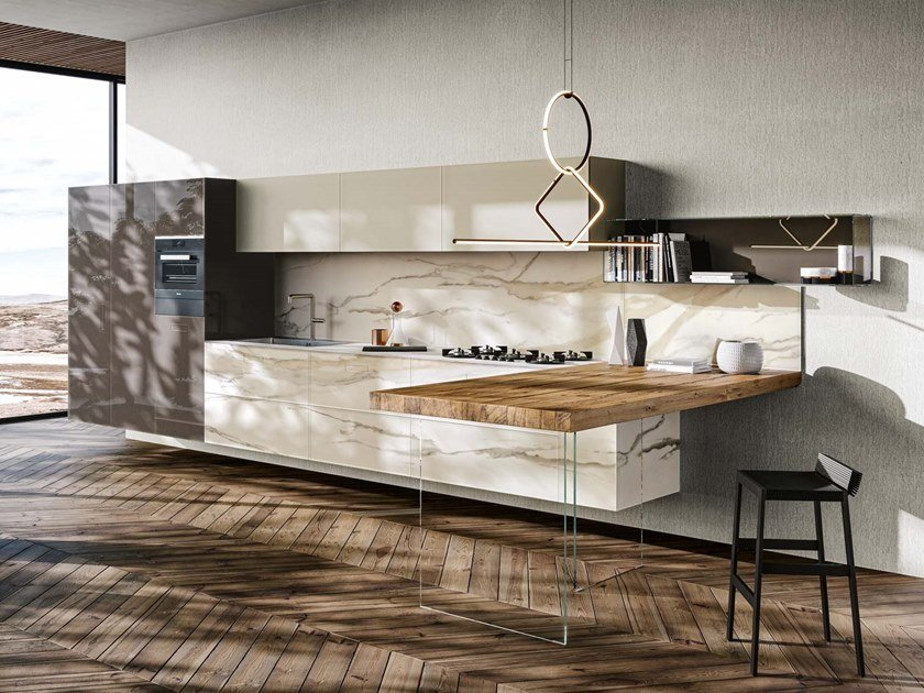 Kitchen with peninsula 36E8 MARBLE XGLASS | Kitchen with peninsula by Lago