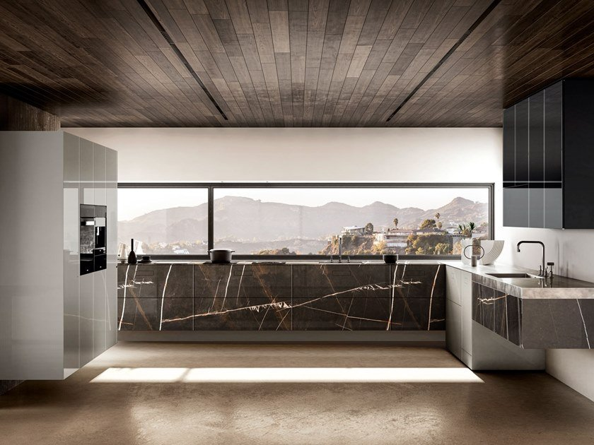 Linear wall-mounted kitchen 36E8 MARBLE XGLASS   Linear kitchen by Lago