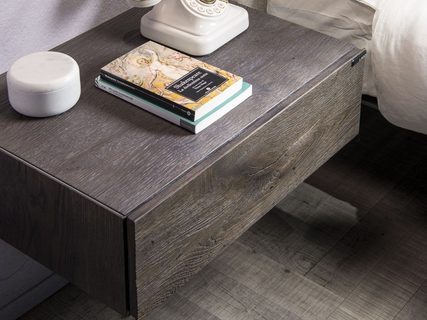 Rectangular wall-mounted wooden bedside table with drawers 36E8 WILDWOOD | Bedside table by Lago