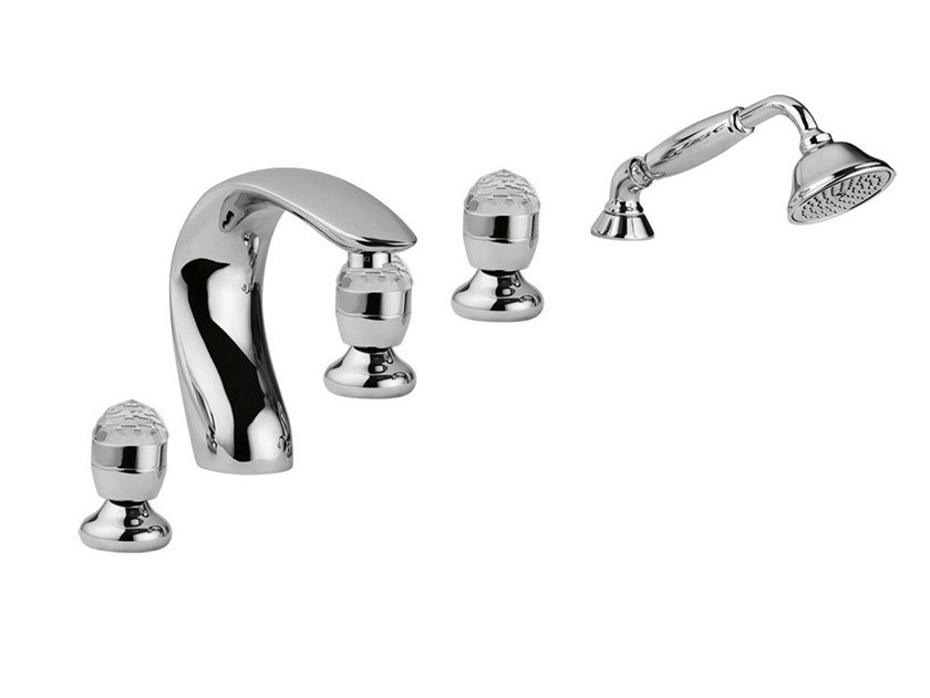 5 hole bathtub set with hand shower PERSIA CRYSTAL - PERSIA - F3860/S by Rubinetteria Giulini