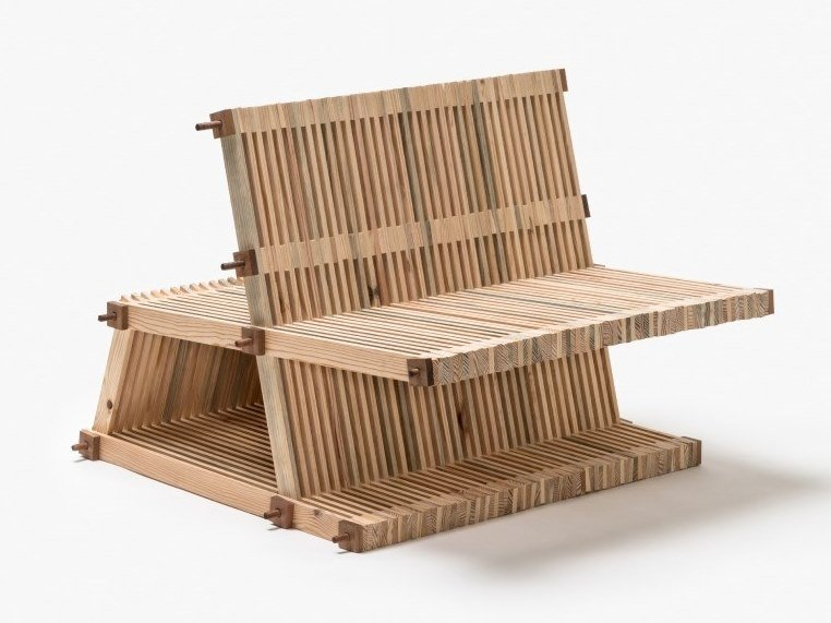 Wooden bench with back #39 | Bench with back by Linie by Cabana