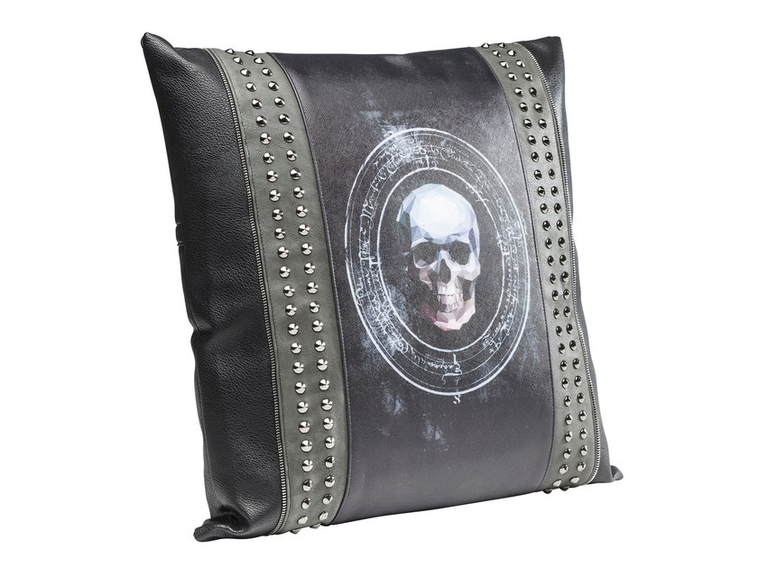 Contemporary style square synthetic material cushion 3D SKULL RIVET 45x45 by KARE-DESIGN