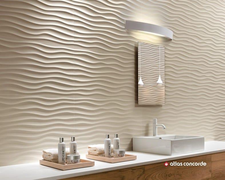 Rivestimento tridimensionale in ceramica a pasta bianca 3d wall design dune by atlas concorde - Atlas concorde bagno ...