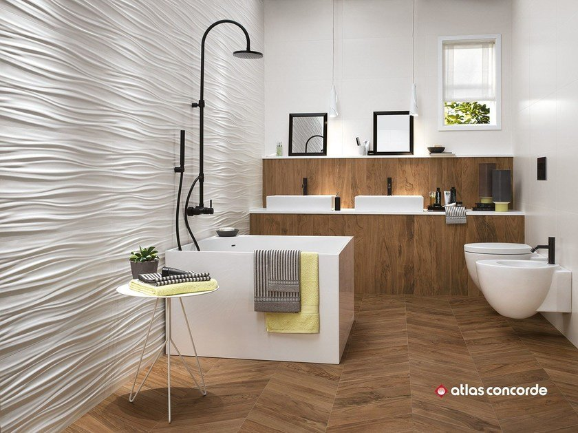 White-paste 3D Wall Cladding 3D WALL DESIGN RIBBON by Atlas Concorde