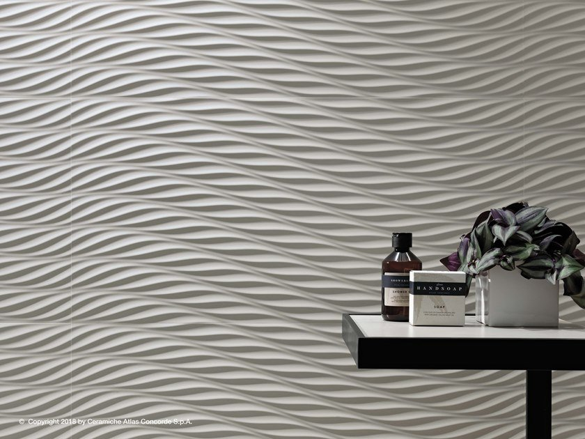 White-paste 3D Wall Cladding 3D WALL DESIGN TWIST by Atlas Concorde