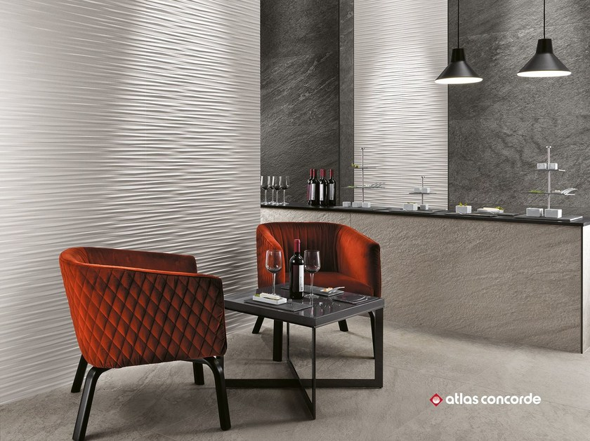 White-paste 3D Wall Cladding 3D WALL DESIGN ULTRABLADE by Atlas Concorde
