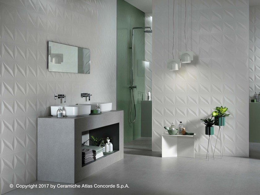 White-paste 3D Wall Cladding 3D WALL DESIGN FLASH by Atlas Concorde