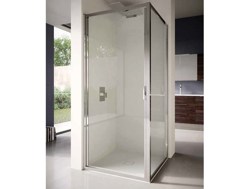 Corner glass shower cabin with hinged door 4.0 - QT1P+QTFI by DISENIA