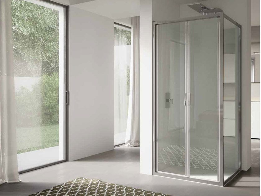 Corner glass shower cabin with hinged door 4.0 - QT2P+QTFI by DISENIA