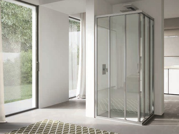 Corner glass shower cabin with sliding door 4.0 - QT2S+QT2S by DISENIA