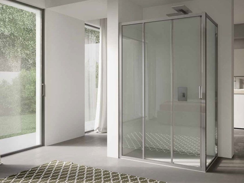 Corner glass shower cabin with sliding door 4.0 - QTS2N+QTFI by DISENIA