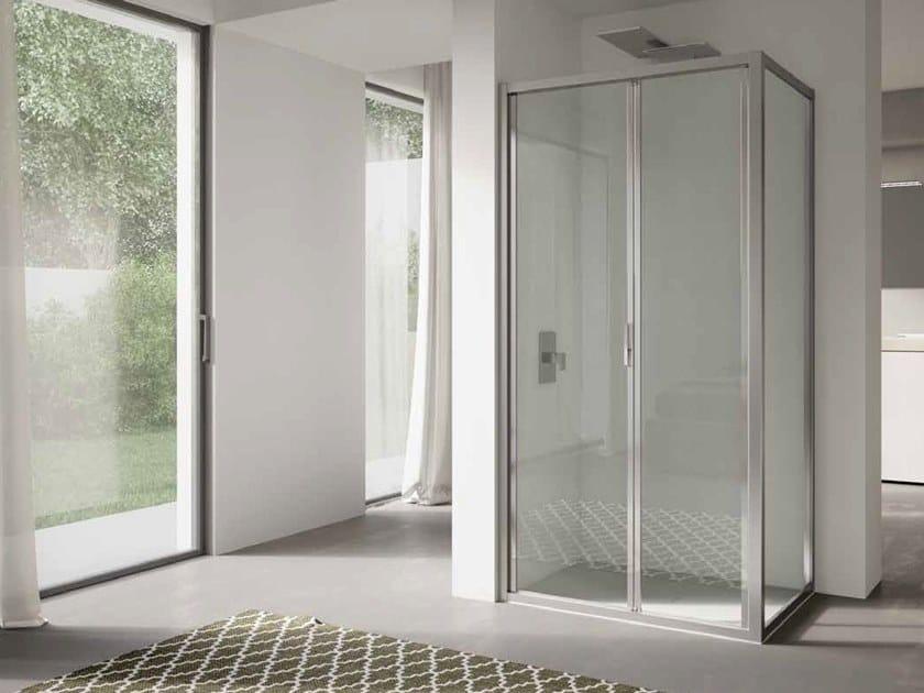 Corner glass shower cabin with folding door 4.0 - QTSF+QTFI by DISENIA
