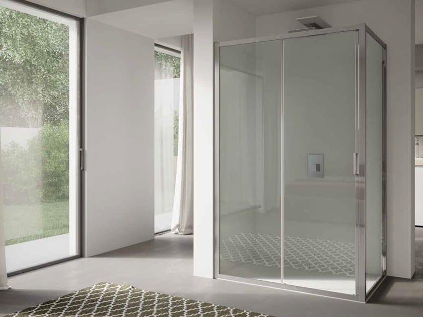 Corner glass shower cabin with sliding door 4.0 - QTSN+QTFI by DISENIA