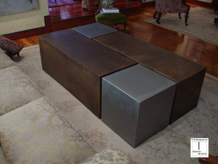 Low steel coffee table 4 CUBES by Gonzalo De Salas