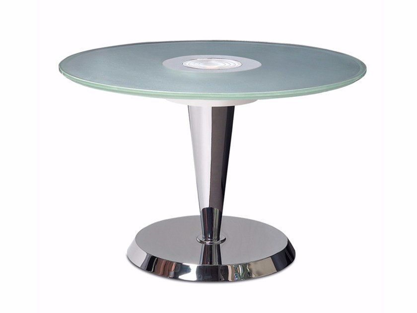 Metal coffee table with light for living room GUÉRIDON 4 by Jean Perzel