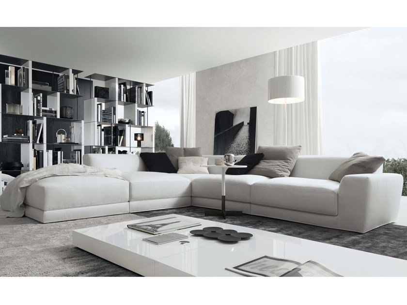 Corner sectional 4 seater leather sofa PASHÀ | Leather sofa by JESSE