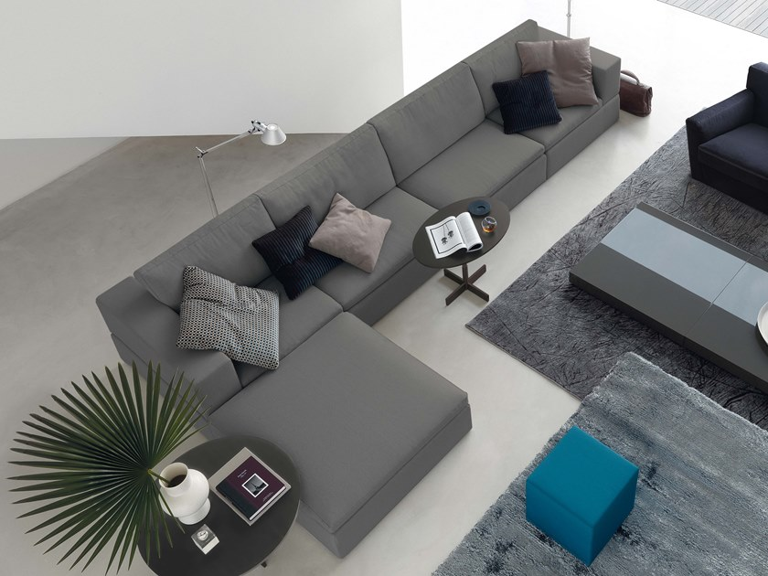 4 seater fabric sofa with chaise longue TERENCE | 4 seater sofa by JESSE