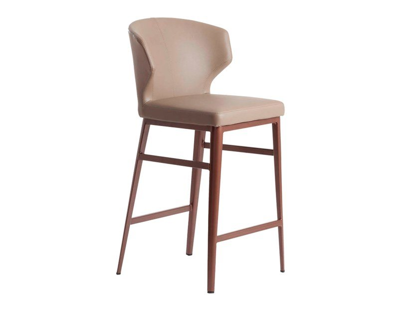 Leather barstool with footrest 4000 by Angel Cerdá