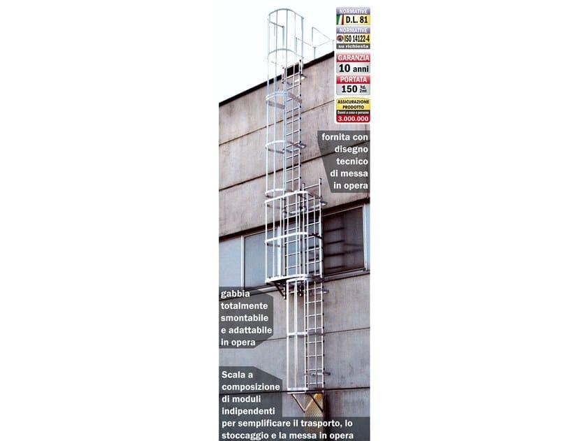 Scala fissa verticale alla marinara con gabbia di protezione 4047 by Frigerio Carpenterie