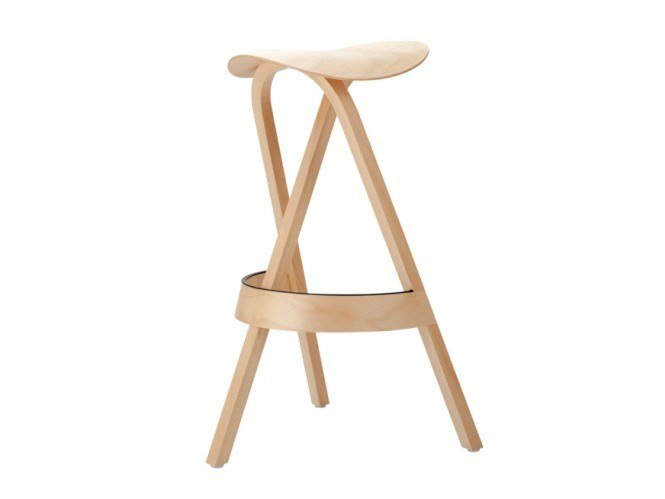Multi-layer wood stool 404 H by Thonet
