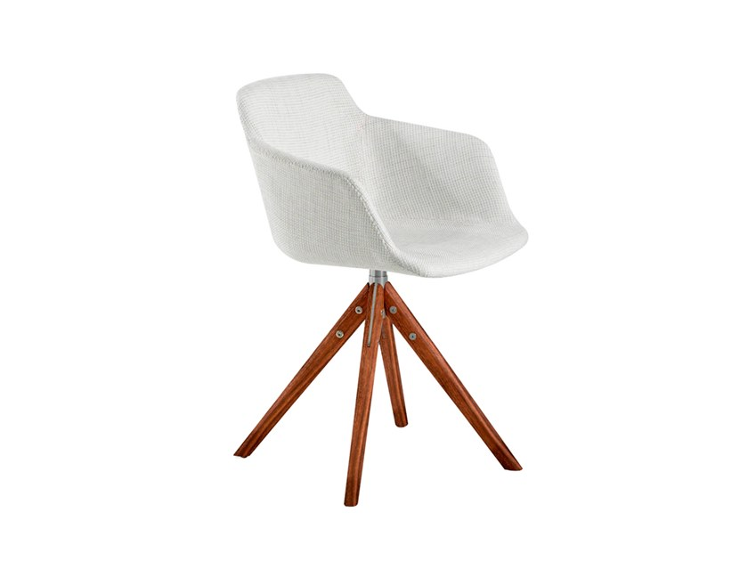 Swivel trestle-based fabric chair with armrests 4059 by Angel Cerdá