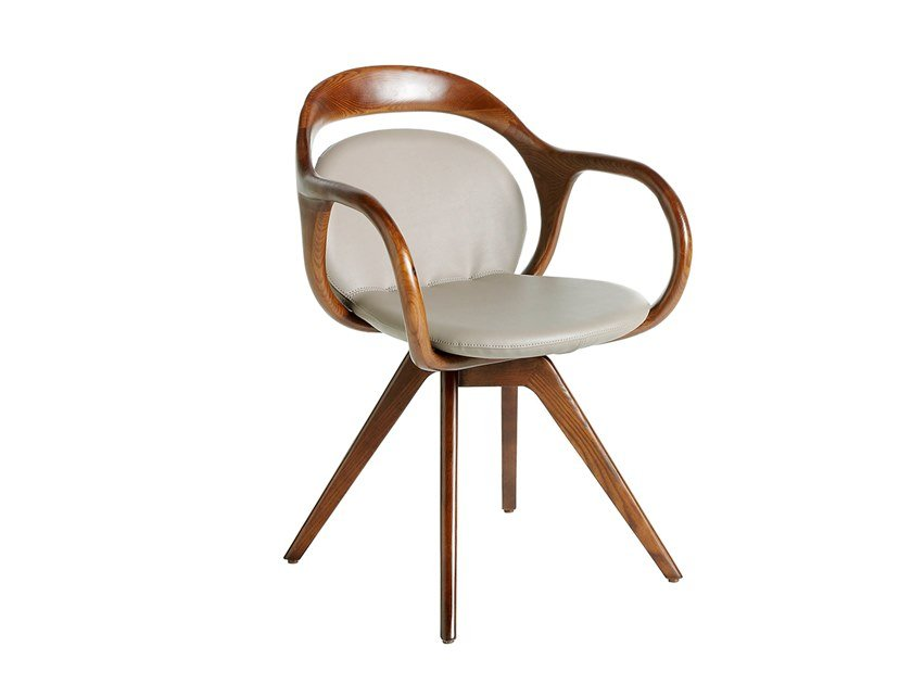 Upholstered wooden chair with armrests 4060 by Angel Cerdá