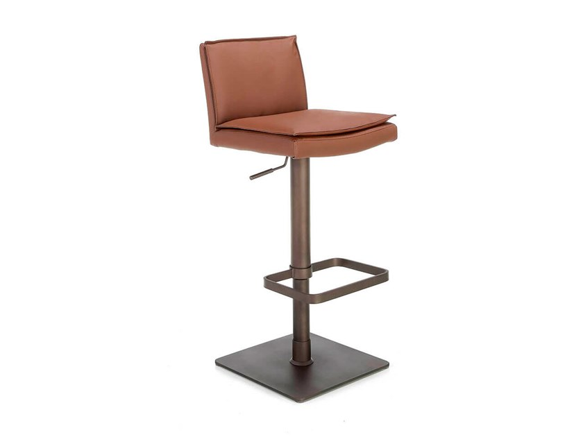 Swivel height-adjustable leather barstool 4064 by Angel Cerdá