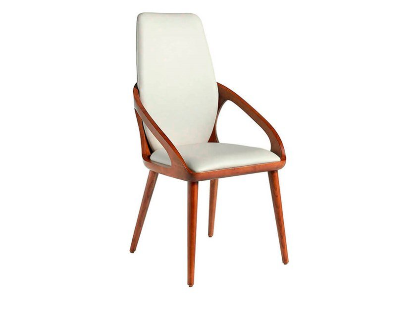 High-back Eco-leather chair with armrests 4066 by Angel Cerdá