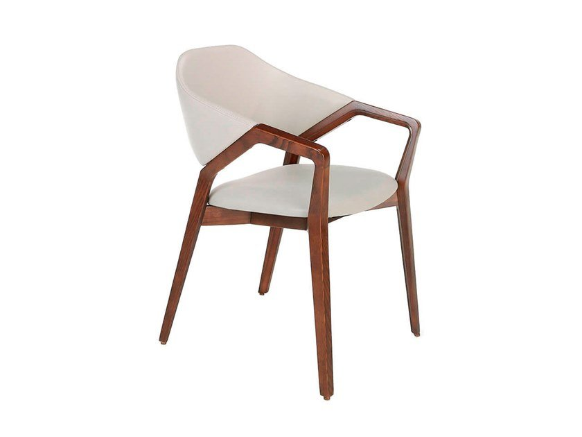 Eco-leather chair with armrests 4068 by Angel Cerdá