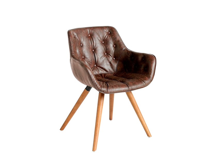 Tufted leather chair with armrests 4073 by Angel Cerdá