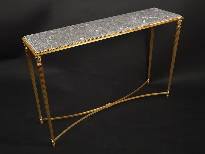 Rectangular marble console table 43650   Console table by Tisserant